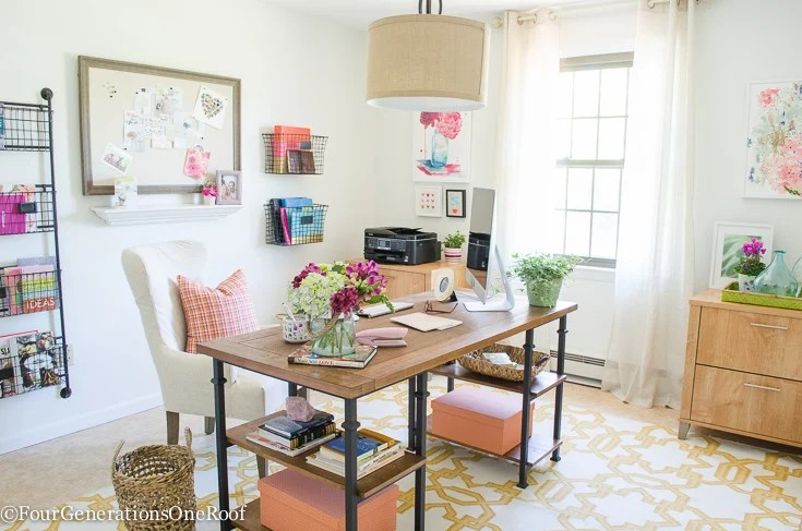 Colorful Modern Farmhouse Office Decorating Ideas | How To Create A Modern  Farmhouse Office | Rustic