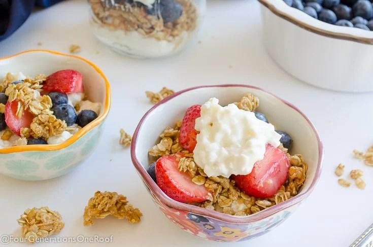 Flower bowl, cottage cheese, blueberries, strawberries, granola