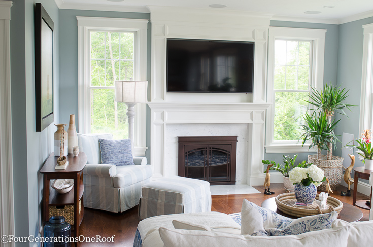 Coastal Pottery Barn Living Room on a Budget - Four Generations One Roof