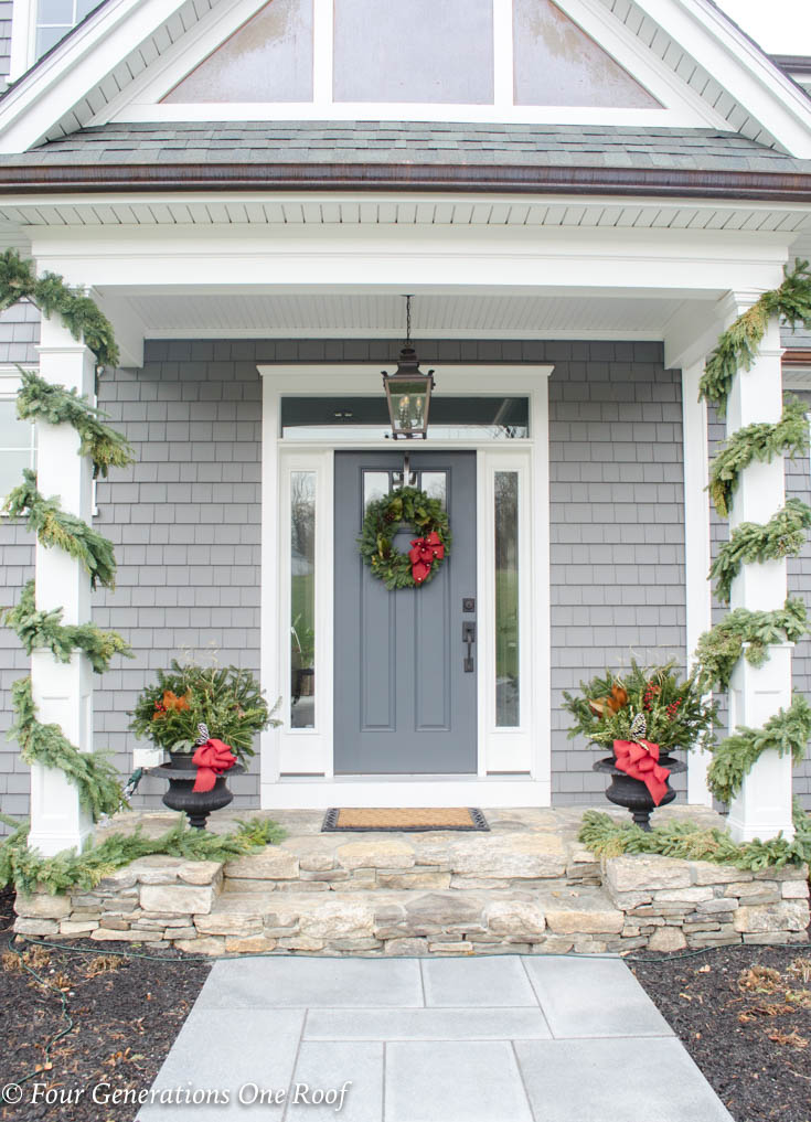 Pretty Christmas Garland + Greenery: Front Door Decorating Ideas