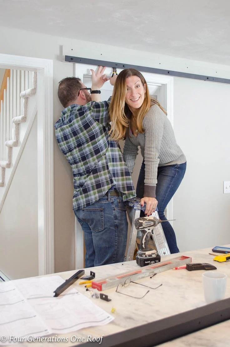 Black sliding barn door hardware, husband and wife, Barn Door Installation without Removing Door Trim