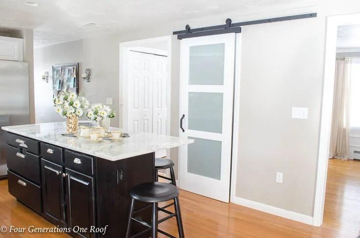 White basement kitchen door black island Barn Door Installation without Removing Door Trim