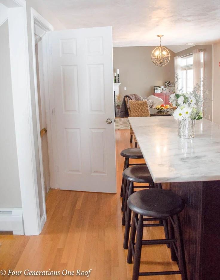 White basement kitchen door Barn Door Installation without Removing Door Trim