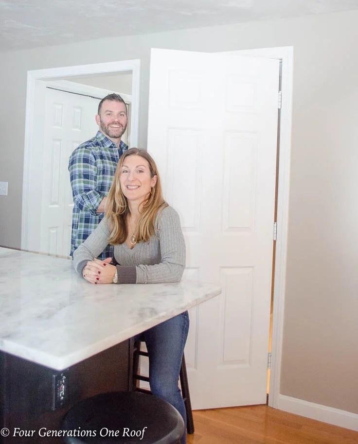 husband and wife kitchen island, White basement kitchen door Barn Door Installation without Removing Door Trim