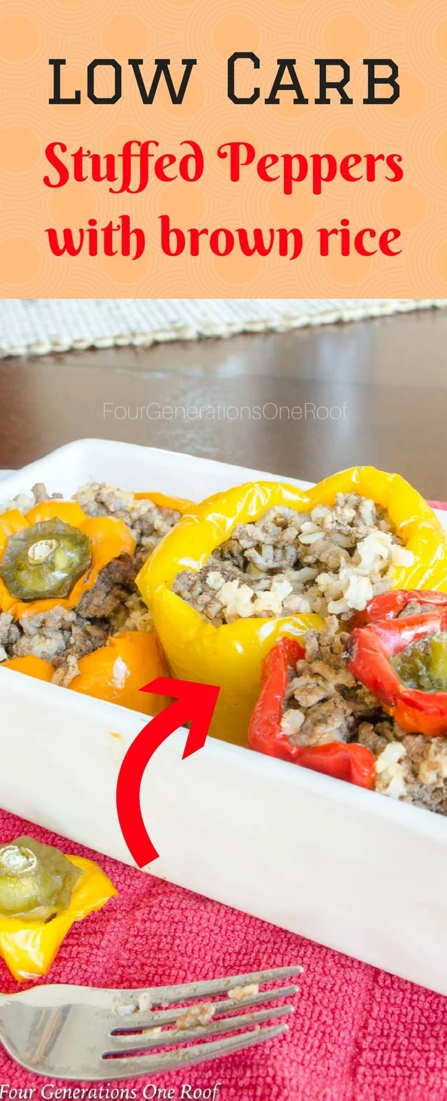 how to make fast low carb stuffed peppers with brown rice. Bell Peppers work perfectly but green peppers are also ok to use. This is a perfect meal idea for during the week when you are on the go and also great as leftovers the next day for lunch! #leftovers #stuffedpeppers #bellpeppers #mealidea #weeklymealplanner #weekdaymeal #cookinglight #lowcarb #diabeticrecipe #lowcarbmeal