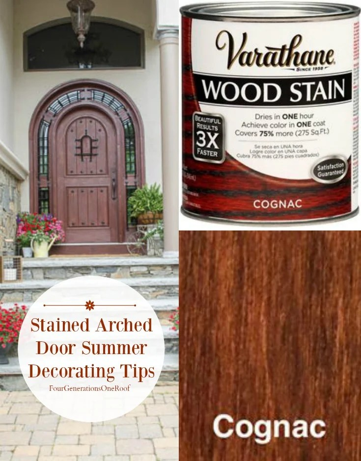 stained arched door summer decorating tips {Varathane Cognac Stain}