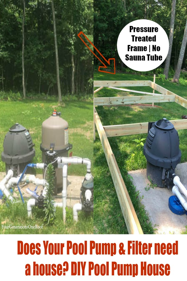 Pressure Treated wood frame around a DE Pool Filter and pump