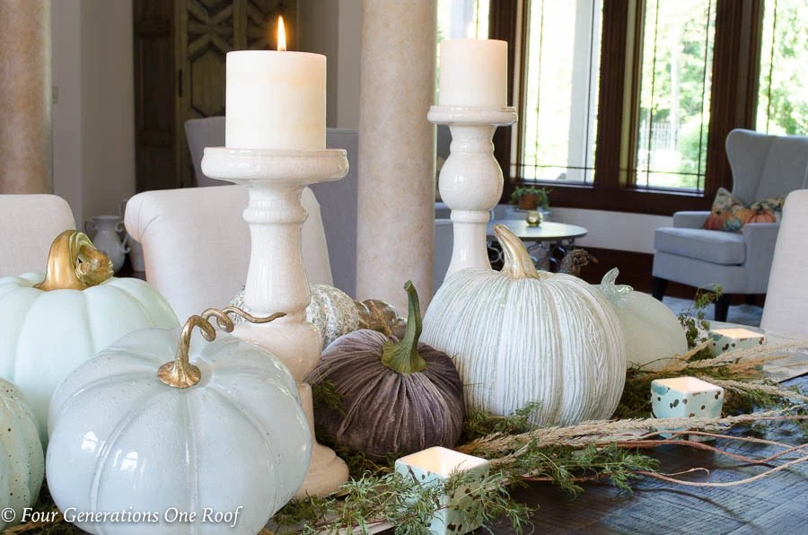 Simple Rustic Modern Fall Decor {Our Mediterranean Home Fall Tour} Neutral colored pumpkins, greenery, fall pillows and dried flowers #falldecor #rustic #modern #rusticmodern #livingroom #kitchen #diningroom #openconcept #hgtv #bhg