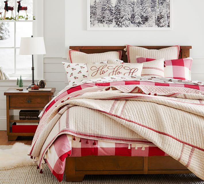 Red Buffalo Check Duvet Sham tan and red piping quilt | how to decorate your bedroom for christmas
