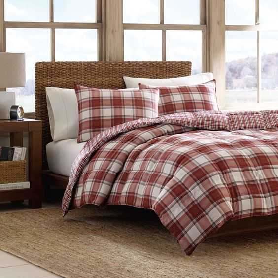 Christmas bedroom navy walls white duvet red trim red green plaid comforter and shams