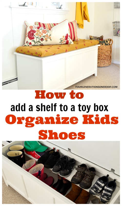 Shoes stored in a wooden toy box with DIY wood shelf |