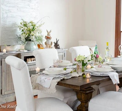 White and Gold Easter Decorating Ideas + Dining Room