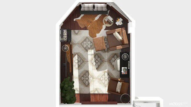 3D room design small living room with rug, leather chairs and media console