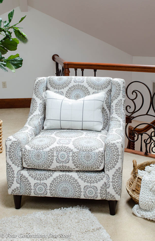 blue, white and gray round geometric accent chair Raymour and Flannigan