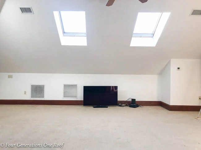 attic loft with sloped ceiling skylights and tv on floor