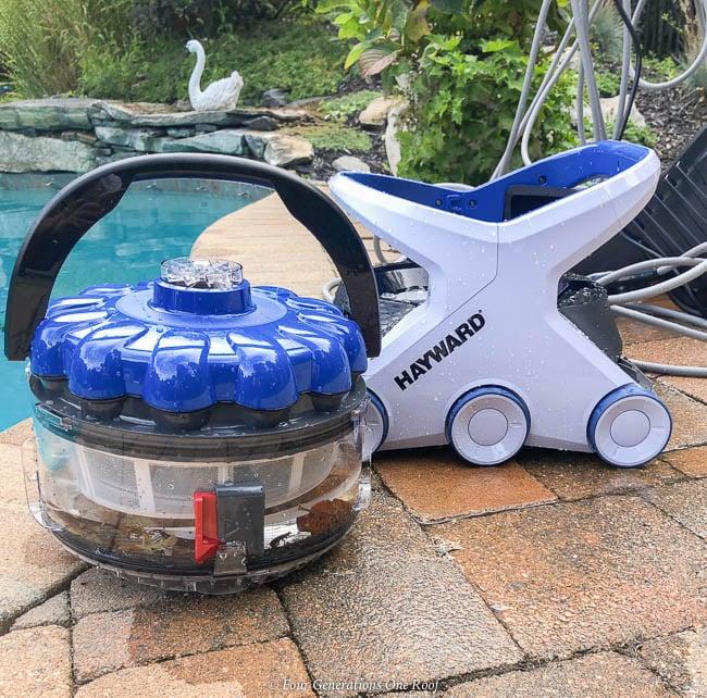 best pool cleaning robot - Hayward AquaVac 6 Series robotic pool cleaner filter full of leaves