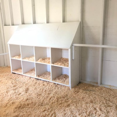 white chicken coop interior with nesting boxe