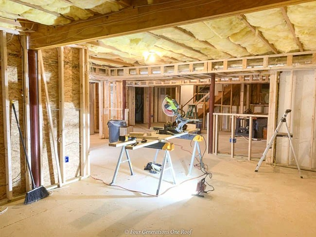 basement 2x4 frame walls and closet