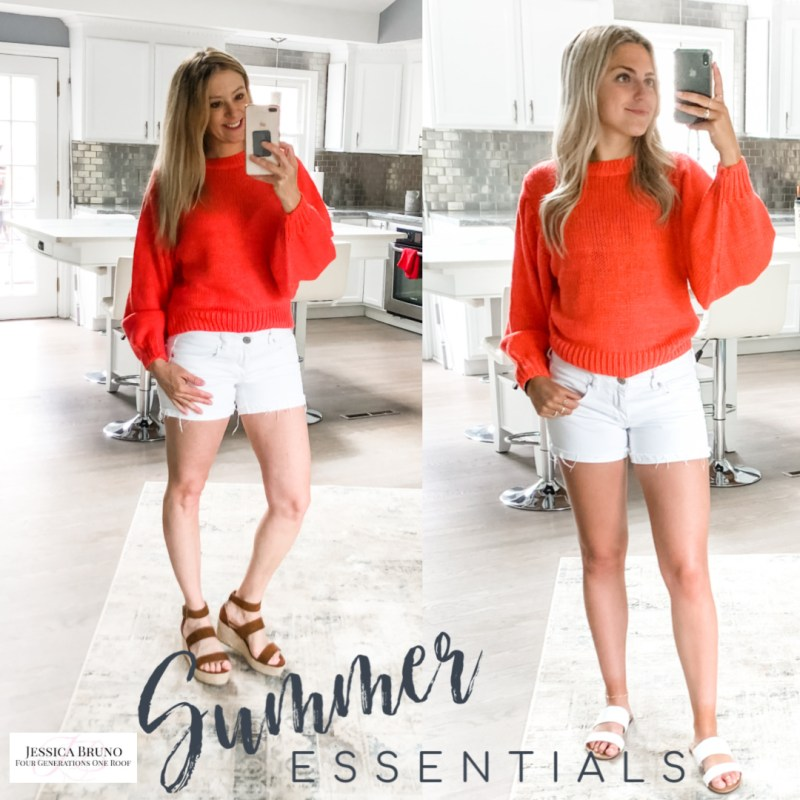 Red Dress Coral Crop sweater and white shorts