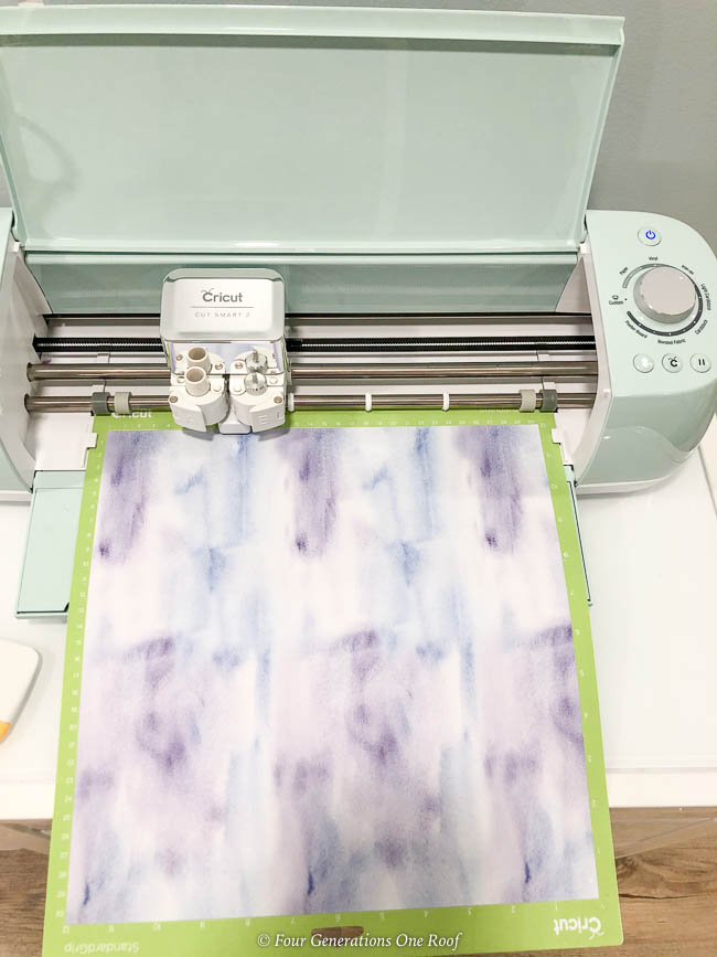 Infusible Ink Watercolor Paper on Standard Grip mat feed into the mint green Cricut Explore Air 2
