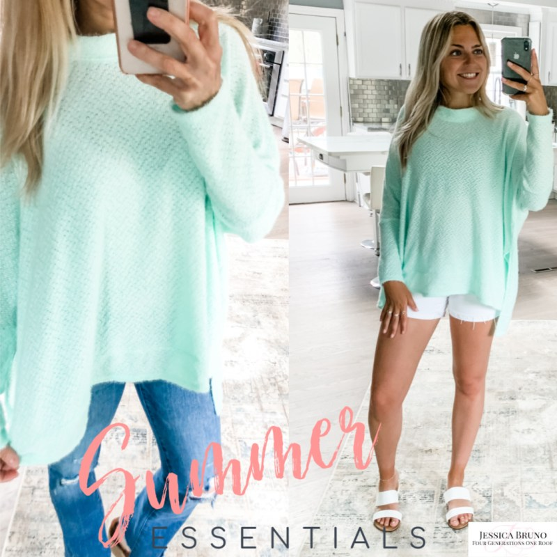 Pink Lily Mint Green Summer Sweater