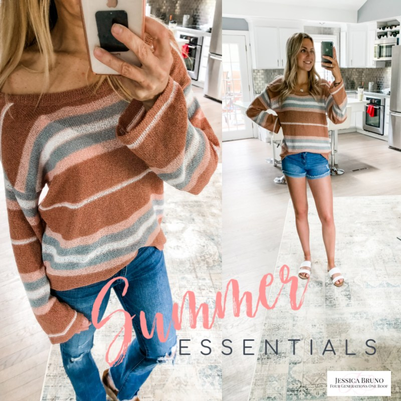 Pink Lily Beach Striped Sweater