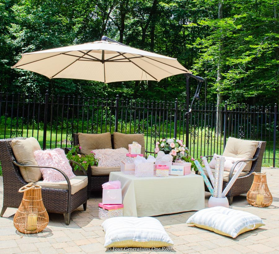Backyard bridal shower ideas on a budget seating and gift area