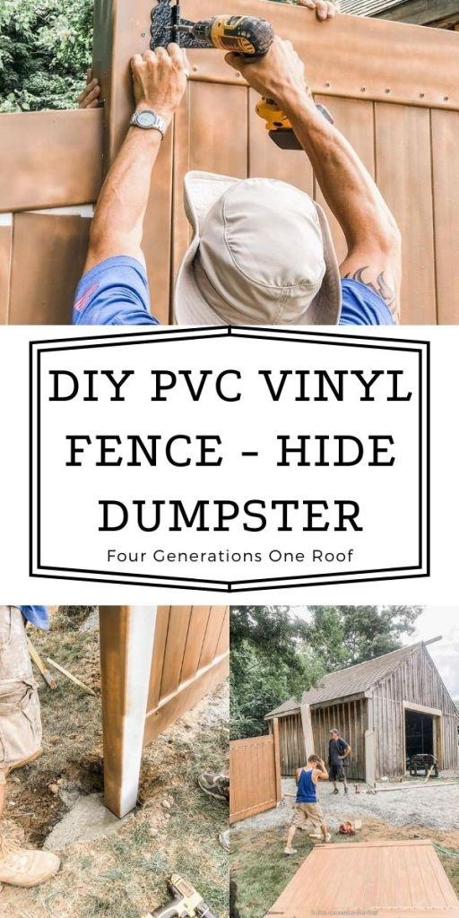 diy PVC vinyl fence installation hide dumpster