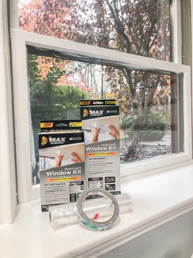 Duck Window Insulation Kit, white trim window, window sill