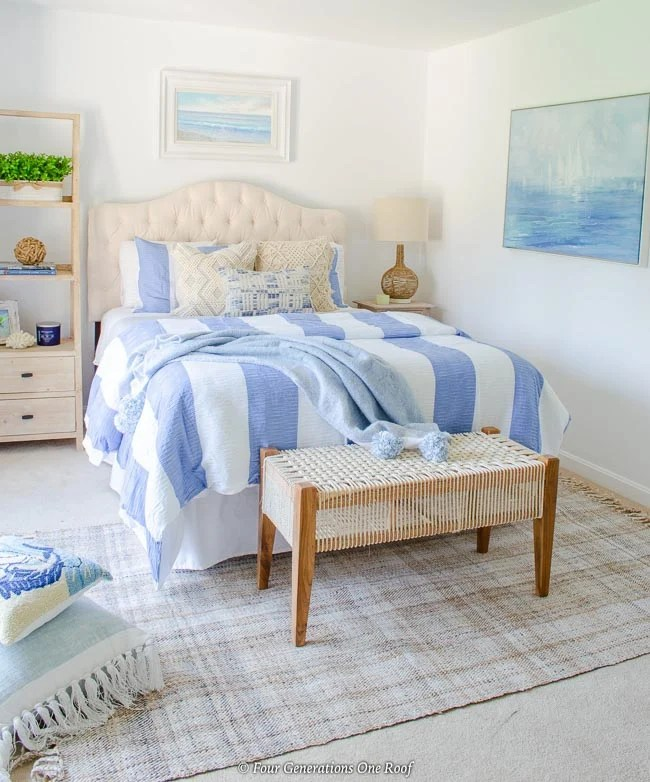 blue striped bedding coastal bedroom