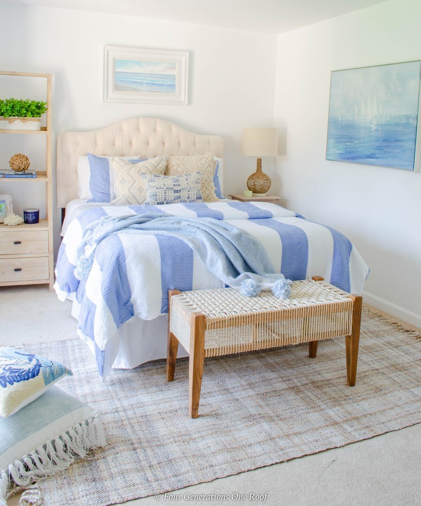 blue striped bedding coastal bedroom