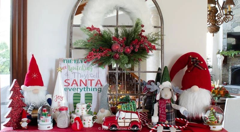 christmas gnomes, arched mirror, fluffy white wreath, santa sign, red vintage truck, hot chocolate