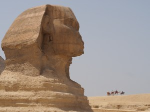 Sphinx and Camel Caravan, Cairo