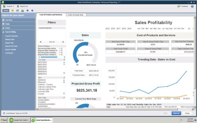 quickbooks enterprise advance reporting