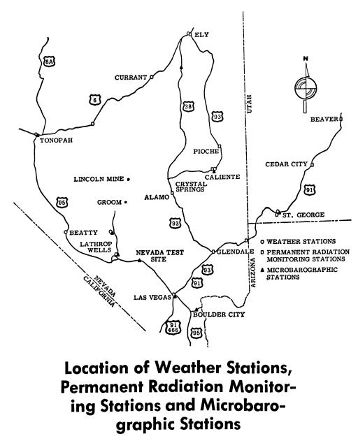 Location of Weather Stations, Permanent Radiation Monitoring Stations and Microbarographic Stations