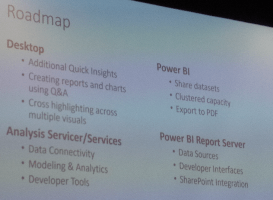 Overview of what is coming to Power BI in the next few
