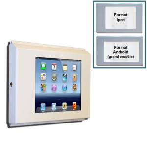 support mural securise pour tablettes ipad ou android avec rallonge usb