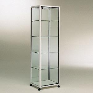 vitrine colonne en aluminium h180xp50xl50cm 4 tabl reglables sur roulettes sans eclairage 3 couleurs au choix