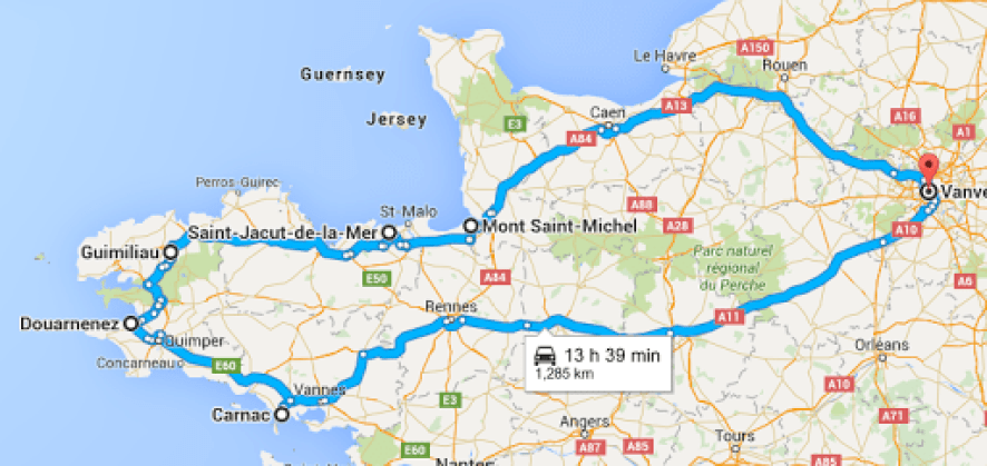 our roadtrip itinerary through Bretagne/Brittany