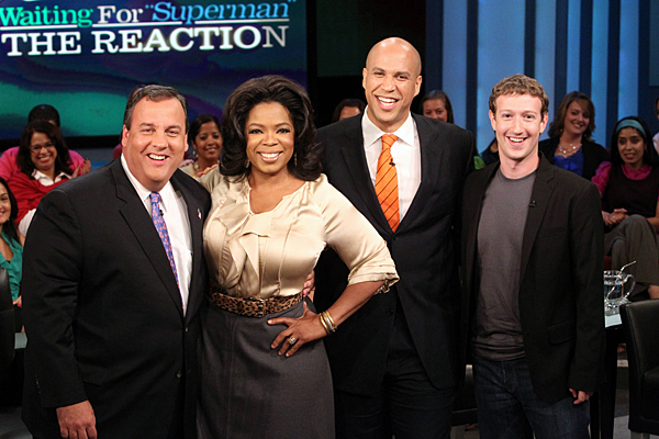 Christie, Booker, Zuckerberg & Oprah after the gift