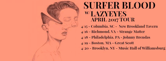 Surfer Blood and Lazyeyes tour poster