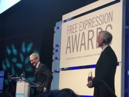 Tim Cook receiving the Free Expression Award