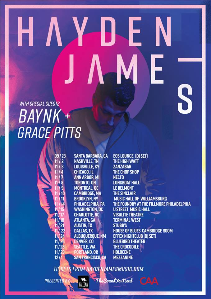 Hayden James with BAYNK and Grace Pitts tour poster