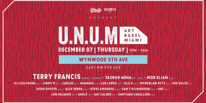 Terry Francis: U.N.U.M Art Basel lineup poster