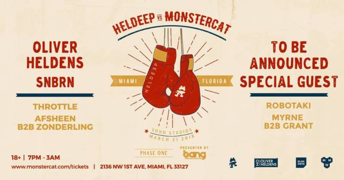 Heldeep vs Monstercat lineup poster