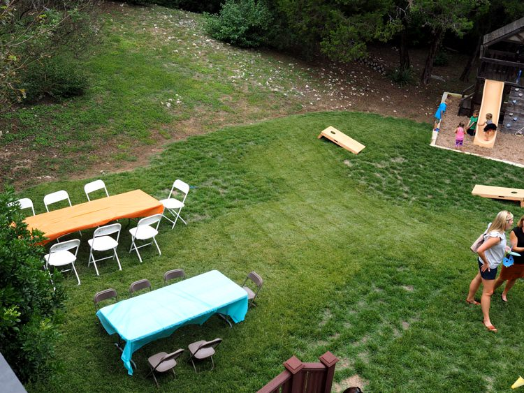 Cornhole and Tables & Chairs