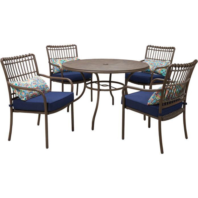 Hanover Summerland 5 Piece Outdoor Dining Set With 4 Stationary Chairs And A 48 In Round Faux Wood Table Sumdn5pc Nvy