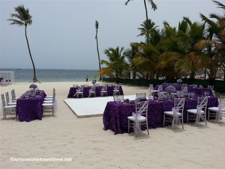 purple reception setup dreams palm beach
