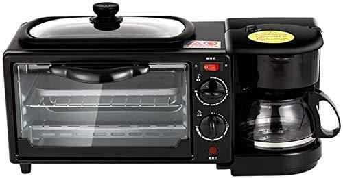 3-in-1 famille Petit-déjeuner station Maker Retro Center multi-fonction électrique Grille-pain machine en acier inoxydable Four Cafetière avec bouilloire Egg crêpière Po antiadhésifs, Rouge lxhff (Cou