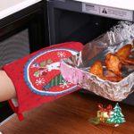 Housoutil 3 Pcs Noël Pingouin Bonhomme De Neige Renne Four Mitaines Résistant À La Chaleur Cuisine Gants De Four Antidérapant pour Barbecue en Sécurité Cuisson Cuisson Griller Noël